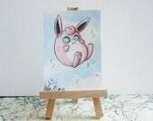 Wigglytuff ACEO/ATC Miniature - Watercolour Pokémon Painting - Original Art