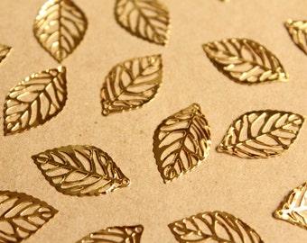 40 pc. Laser Cut Skeleton Leaf Charms, Gold, 23.5mm by 14mm   MIS-085