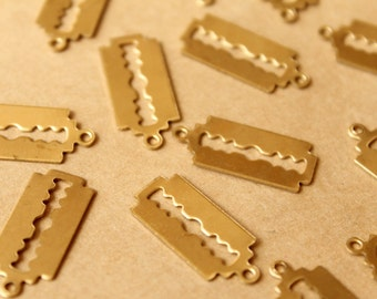 10 pc. Raw Brass Double-Edged Razor Blade Charms: 24mm by 10.5mm - made in USA   RB-766