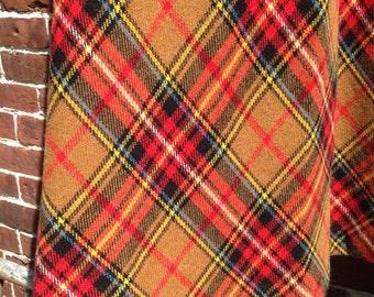 Cognac Plaid Skirt Vintage Maxi Ginger Golden Brown Tartan S