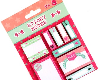 Set of 9 Colorful Sticky Notes Arrows