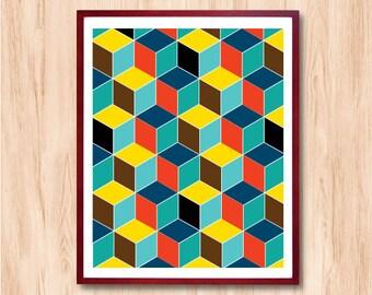 cubes poster etsy. Black Bedroom Furniture Sets. Home Design Ideas