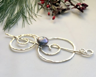 Shawl Pin, Sterling Silver, Peacock Pearl, Scarf Pin, Hat Pin, Sweater Pin, Hair Accessory, Silver Swirl Pin, Gift for Her, Bridal Jewelry