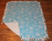Fleece No Sew Blanket - Nautical Themed Blanket - Lap Blanket - Aqua and White - Large Sized No-Sew Blanket
