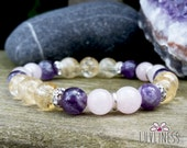 Happy Vibes, Rose Quartz, Amethyst & Citrine Gemstone Mala Bracelet, Reiki Energy, Heart, Solar Plexus and Crown Chakra, Yoga Jewelry