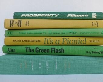 Lemon Lime Vintage Books / Book Decor / Instant Library/ Book Bundle / Photo Prop / Wedding Decor / Colorful Books / Romantic Cottage Decor
