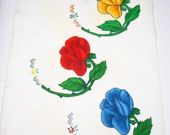 Vintage Artex, Painting, Roses, Flowers, Felt, Liquid Embroidery, Craft Supplies, Tri Chem, Poster, Retro Wall Art, Floral