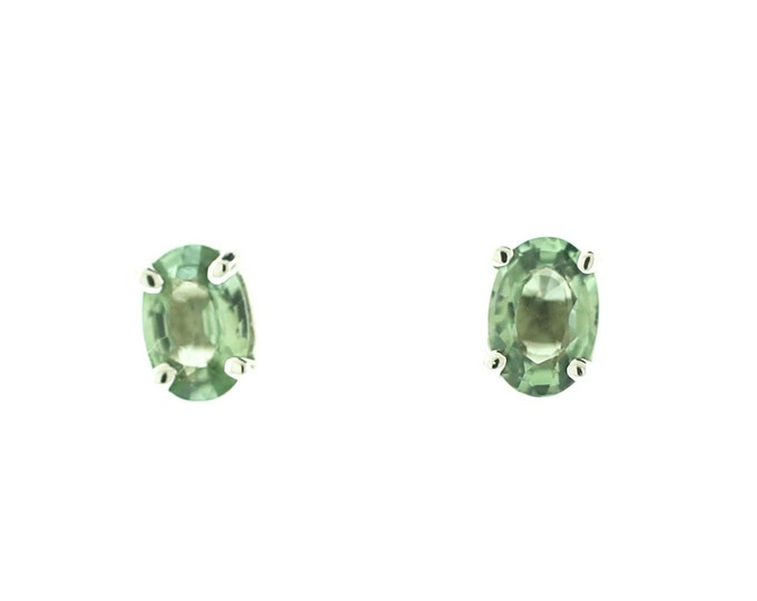Sapphire Stud Earrings/ 14K White Gold Stud Earrings/ Green Sapphire Earrings