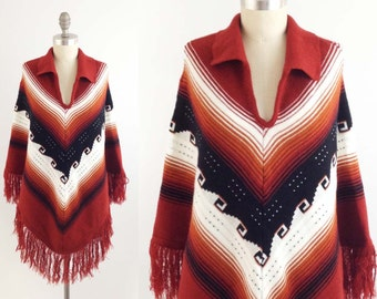 Vintage Fringed Southwestern Poncho - Boho Hippie Ethnic Knit Cape in Rust Chevron Stripes w/ Fringe ! - OSFA