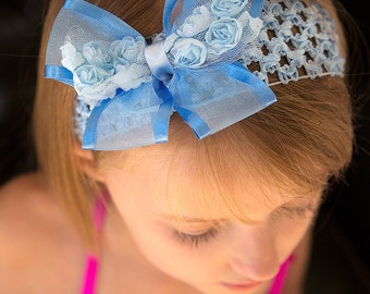 SKY BLUE Rosette Bow Headband (6 months to 8 years)