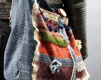 BS5801 Design Boho purse gypsy shoulder bag-Hippie bag- Hobo bags-Hand made beaded slouch bags-Beaded ethnic bag-70' hippie bag-Winter fall