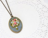 Hand Embroidered Floral Bouquet Necklace   Embroidered Statement Long Pendant Necklace   Colorful Flower Necklace Jewelry   Pink Gray Green