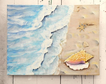 "Original Art Canvas Beach with Seashells 24x18"" OOAK 100% of the profits go directly to artists with disabilities Item 54 Zaida S."