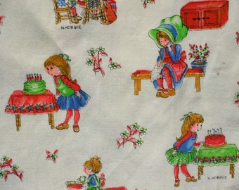 Vintage Holly Hobbie Fabric, Cute Small Print American Greetings Manes, Kids Novelty Quilt Sewing Fabric 1 1/2 yard