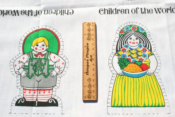 Vintage cut and sew children of the world craft fabric for Children of the world fabric