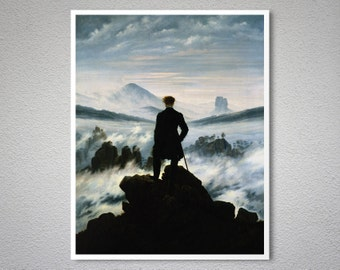 The Wanderer Above the Sea of Fog by Caspar David Friedrich - Poster Paper, Sticker or Canvas Print