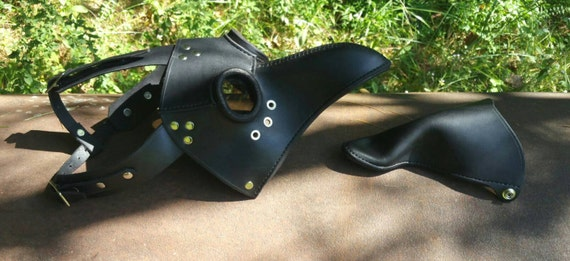 Convertible Paracelsus Plague Doctor mask in black and nickel. Ready to ship!