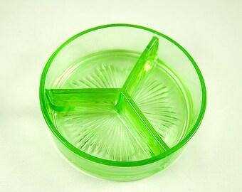 Vintage Green Vaseline 3 Compartment Glass Relish Dish