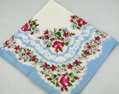 Vintage Hankie Blue White Red Framing Sewing Quilting T44