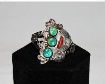 HALLOWEEN SALE 20% OFF 1970s Sterling Silver Turquoise Coral Art Nouveau Cuff Bracelet
