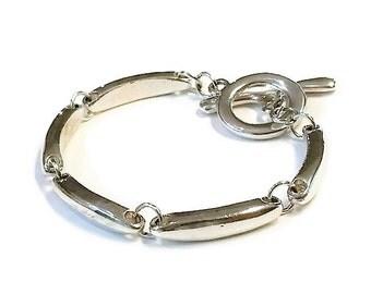 Vintage Sterling Silver Bar Link with Toggle Closure 925 Bracelet