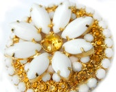 RESERVED Milk Glass Brooch Summer Sunburst Flower Weiss Style White And Yellow Rhinestone  Flower Mid Century Collectible Jewelry For Women