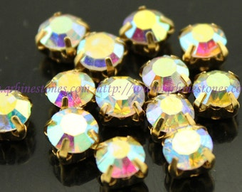 Sew on rhinestones Crystal AB Round chatons gold color prong setting 4mm 5mm 6mm 7mm 8mm 10mm