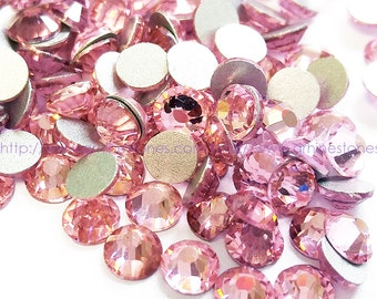 Pink Flat Back Rhinestones (Light Rose) VERY SPARKLY No Hotfix 144pcs size select 2mm 3mm 4mm 5mm 6mm