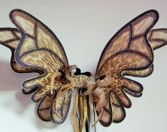 Large double panel gold leopard print fairy pixie wings