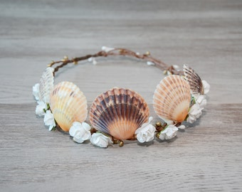 Mermaid Hair Accessories Beach wedding wreath Sea Shell Headband Seashells crown Flower crown Seashell Headpiece nautical mermaid costume