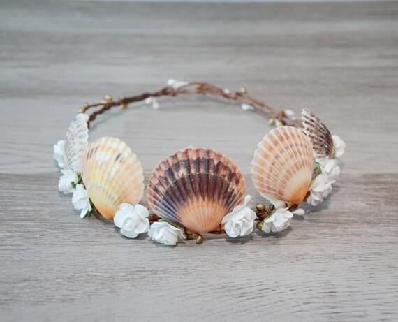 Mermaid hair accessories beach wedding wreath sea shell for Seashells for hair