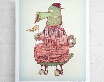 "FREE SHIPPING 11 x 14"" or 16 x 20"" Paul Carpenter Art - Philly Phanatic Inspired Art Print - Philadelphia Art Print - Sports Print"