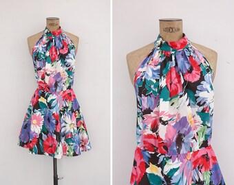 1980s Dress - Vintage 80s Floral Dress - Gouache Garden Dress