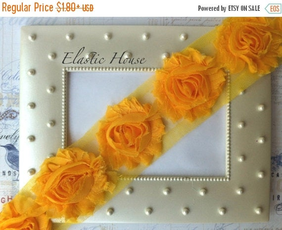 "July Sale 12% OFF 2.5"" Shabby Rose Trim- Bright Yellow Color- Chiffon Trim - Dark Yellow Shabby Rose Trim -Hair Accessories Supplies"