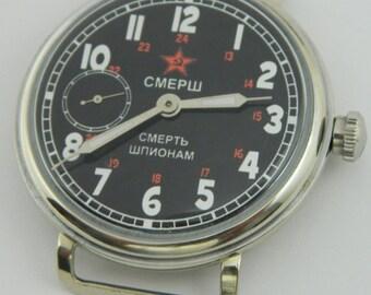 """USSR Russian watch MOLNIJA Molnia SMERSH """"Death to spies"""" #814S"""