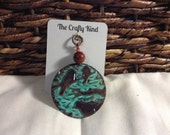 Copper Patina Bird Pendant with Bead Dangle