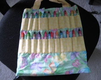 Crayon Bag -- Gliter Butterflies with Green Background