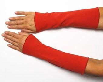 Long mittens 25 cm Arm warmers light hand warmer red jersey cotton