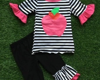 Black and White Stripe Back to School Outfit - PREORDER