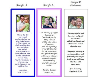 100 Personalized Wedding Bookmark Photo Favors-Custom Laminated-Bridal Shower Gift-Party Ideas-Wedding Reception