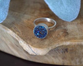 Midnight Blue Druzy Quartz Ring