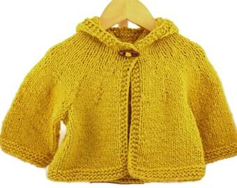 12 - 18 months size handknit hooded baby sweater gold orange