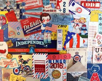 Patriotic Inspiration Kit*Red White Blue Paper Pack*Vintage Ephemera Pack