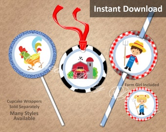 Farm Party Cupcake Toppers, Farm Party Decorations, Printable, Farmers, Farm Yard Animals, Barn, Favor Tags, Straw Flags, Instant Download