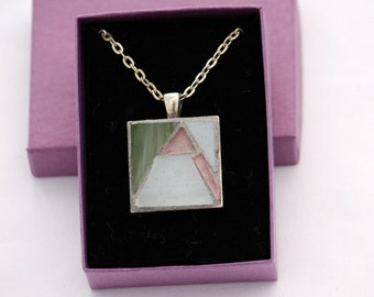 Stained Glass Mosaic Pendant in Green, White and Pink on Silver-Finish Chain