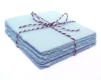 Light blue 4x4 handmade paper cardstock, recycled, deckle edge, 10 sheets