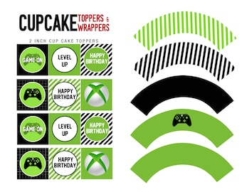 Video Game Themed - Cupcake Toppers and Wrappers - INSTANT DOWNLOAD - .Jpeg & .Pdf files only- You Print