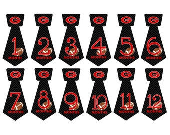 Pre-Cut Tie Shape Monthly Milestones Stickers with Georgia Bulldogs College Football Keepsakes for Baby Boys NT034