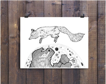 Fox Art Print, Fox Print, Pen and Ink Art, Fox Decor, Moon Art, Fox and Moon Art, Fox Drawing, Black and White Art, Nursery Art, Animal Art