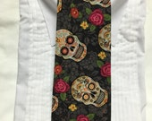Vintage Mexican Sugar Skull Calaveras on Black print Tie-able Neck Tie